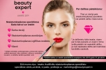 Beauty Concept - Woman applying red lipstick with pink studio background. Beautiful girl makes makeup.